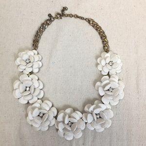 J Crew White Flower w rhinestone necklace